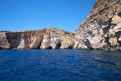 Coast of Mediterranean sea on south part of Malta island Royalty Free Stock Photo