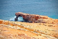 Coast of Mnajdra where the megalithic temples of Malta Qrendi arise.  Royalty Free Stock Photography