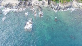 Island of Monkeys in Vietnam. The coast of the Monkey Island Cat Ba in Vietnam, seen from the air Royalty Free Stock Photo
