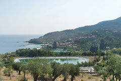 The coast  on Mount Athos, Greece Royalty Free Stock Images