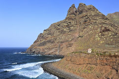 Coast and mountain of Punta del Hidalgo, Tenerife. Rocky coast and mountain of Punta del Hidalgo, Tenerife, Canary Islands, Spain Royalty Free Stock Images