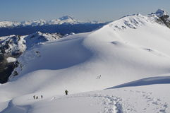 Coast Mountains in winter. Volcanic mountains in British Columbia, Canada with a view of Garibaldi Mountain Stock Images