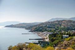Coast near Alushta. Malorechenskoe. View of the coast village Malorechenskoe. Alushta neighborhood. Crimea royalty free stock images