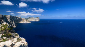 Coast near Cape Formentor in Mallorca horizontal wide Stock Photo