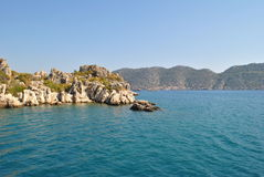 Coast near Kekova, Turkey. Coast near island Kekova, Turkey, nice historical area popular for bathing in open sea in azure clean water stock photos