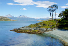 Coast near ushuaia in patagonia. Tierra del Fuego National Park in Argentina stock photography