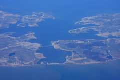 Coast of North America. Looking down on the coast of North America stock photo