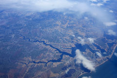 Coast of North America. Looking down on a coastal river royalty free stock photos