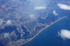 Coast of North America. Looking down on the coast of North America royalty free stock photo