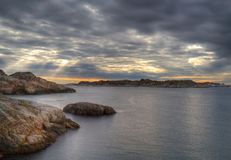 Coast of Norway at sunset Royalty Free Stock Images