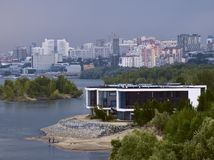 Coast of the Ob River in Novosibirsk with city houses stock photography