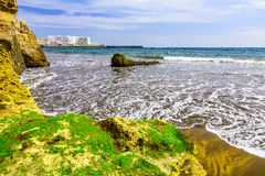 Coast of Ocean with Buildings Royalty Free Stock Photos