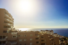 Coast of Ocean with Buildings Royalty Free Stock Photo