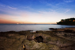 Coast of ocean before dawn - landscape Royalty Free Stock Images
