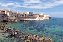 Coast of Ortigia island at city of Syracuse, Sicily Stock Images