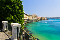 Coast of Ortigia island at city of Syracuse, Sicily Royalty Free Stock Photography