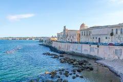 Coast of Ortigia island at city of Syracuse Stock Photography