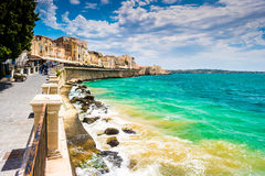 Coast of Ortigia island at city of Syracuse. Sicily, Italy. Beautiful travel photo of Sicily stock image