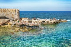Coast of Ortigia island at city of Syracuse, Sicily, Italy Stock Image