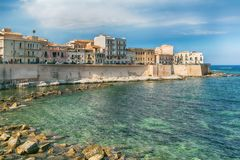 Coast of Ortigia island at city of Syracuse, Sicily, Italy Stock Photos