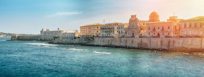 Coast of Ortigia island at city of Syracuse, Sicily, Italy Royalty Free Stock Photo