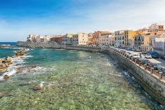 Coast of Ortigia island at city of Syracuse, Sicily, Italy Stock Photography