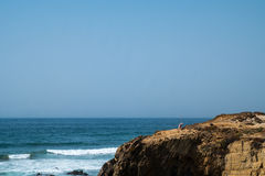 Coast in ortugal. The coastline in portugal showing the ocean, cliffs, beach, and waves Royalty Free Stock Images