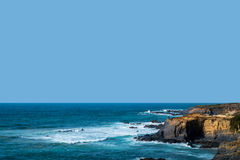 Coast in ortugal. The coastline in portugal showing the ocean, cliffs, beach, and waves Stock Photography