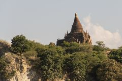 Coast with the pagodas of Bagan. Coast of a river overlooking the ancient pagodas and temples of Bagan. Myanmar stock image