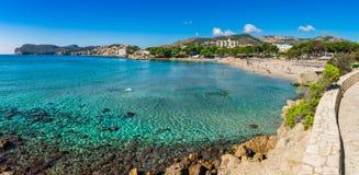 Coast panorama view of Paguera beach on Majorca island, Spain. Idyllic view of beautiful seaside of Majorca, beach Platja de Tora in Paguera, Spain Mediterranean stock photography