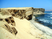 Coast in paracas, Peru. Coast in the paracas national reserve, peru royalty free stock photography