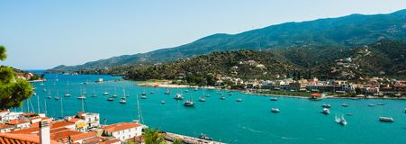 Coast of Paros island in Greece view from above. Panorama view royalty free stock photos