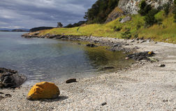 Coast in Patagonia, Chile. Yellow stone on the shoreline of Southern Chile Stock Image
