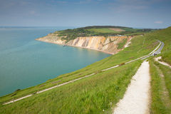 Coast path Alum Bay Isle of Wight next to the Needles tourist attraction Stock Images