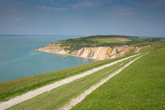 Coast path Alum Bay Isle of Wight next to the Needles tourist attraction Royalty Free Stock Photo