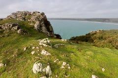 On the coast path Cornwall england uk Royalty Free Stock Image