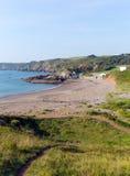 Coast path Kennack Sands beach Cornwall England UK Stock Images
