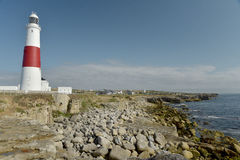 Coast path and lighthouse, Portland Bill Stock Photo