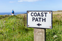 Coast Path Sign in Cornwall, UK Stock Image