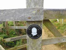 Coast path sign on gate Stock Photography