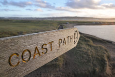 Coast path sign Stock Photo