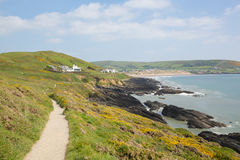 Coast path to Croyde from Woolacombe Devon England UK in summer with blue sky Royalty Free Stock Photos