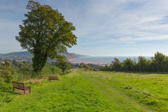 Coast path to Sidmouth Devon England uk popular tourist town in an area of Outstanding Natural Beauty Stock Image