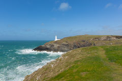 Coast path to Trevose Head Lighthouse North Cornwall coast between Newquay and Padstow English maritime building Royalty Free Stock Photography