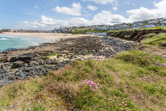 Coast path between zennor and st ives in cornwall england uk Royalty Free Stock Photography