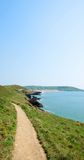 Coast pathway and clear sky North Devon in the UK Stock Photo