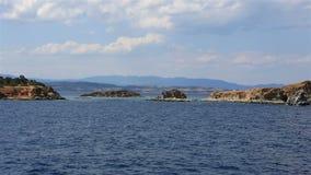 Coast of the peninsula Athos. stock video footage