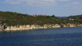 Coast of the peninsula Sithonia. stock video