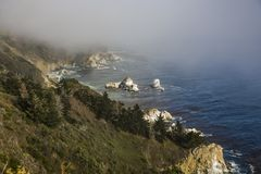 Coast between Pfeiffer National Parc and Pacific Valley at   Rou. Te No. 1 in California Royalty Free Stock Image