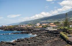 Coast of Pico island, Azores. Azores, the shore of Atlantic ocean in the town of San Roque do Pico stock photo
